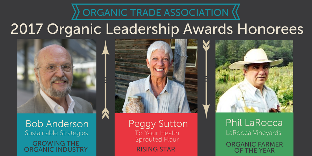 Three change-makers to receive Organic Leadership Awards