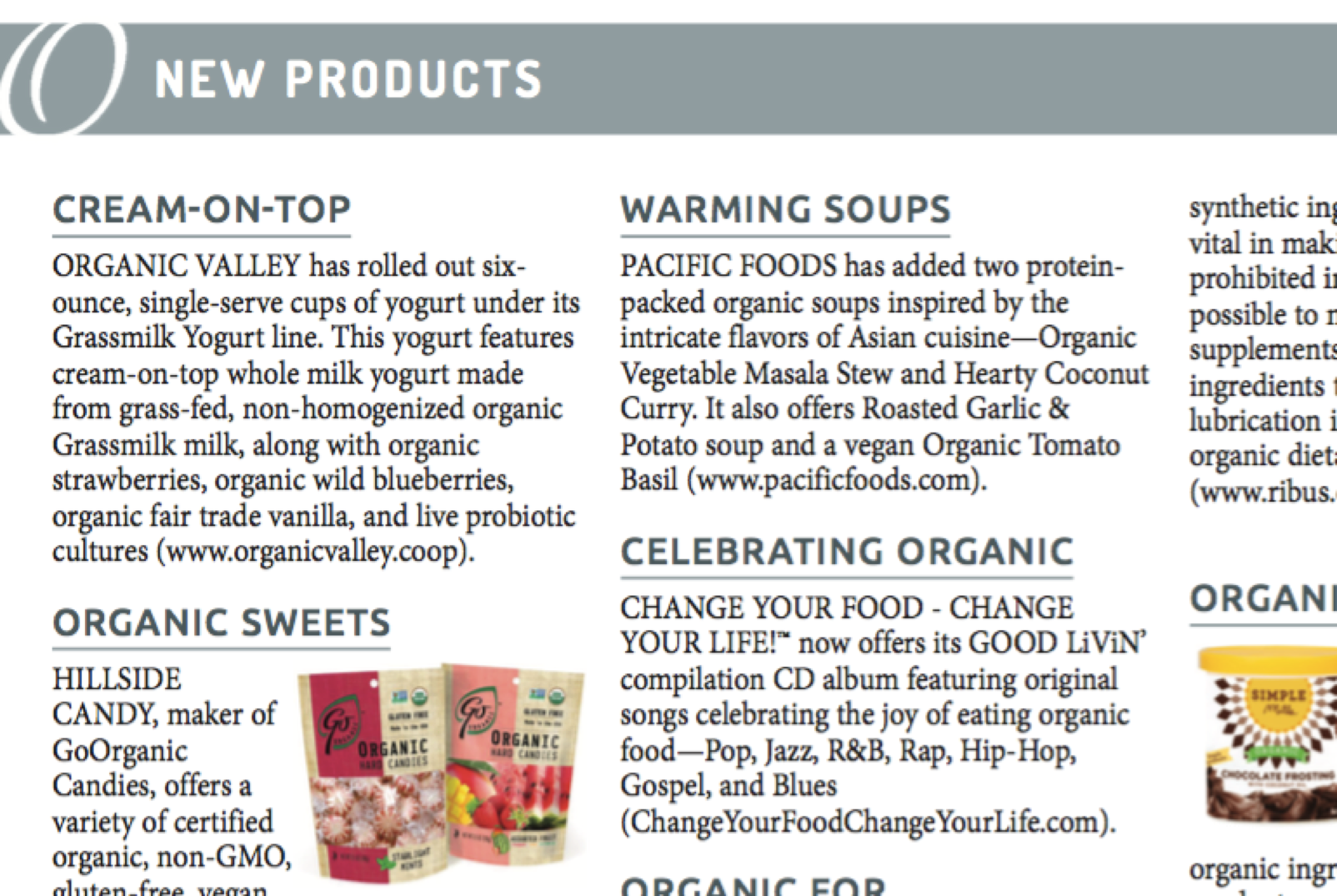 Check out the newest organic products